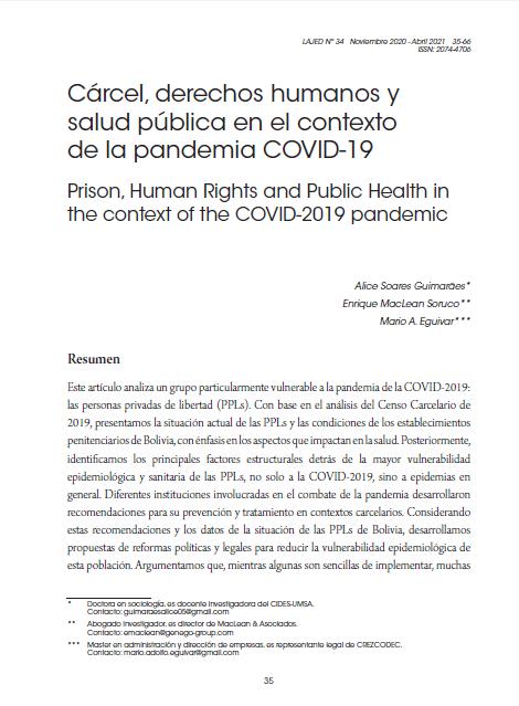 Cárcel, derechos humanos y salud pública en el contexto de la pandemia COVID-19