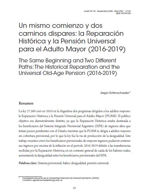 Un mismo comienzo y dos caminos dispares: la Reparación Histórica y la Pensión Universal para el Adulto Mayor (2016-2019)