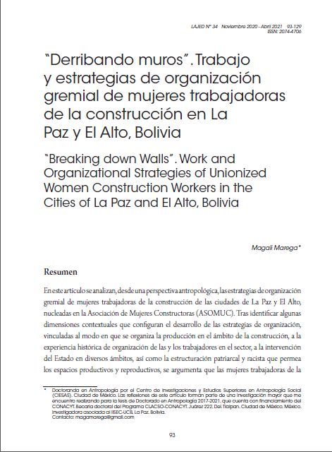 """""""Derribando muros"""". Trabajo y estrategias de organización gremial de mujeres trabajadoras de la construcción en La Paz y El Alto, Bolivia"""