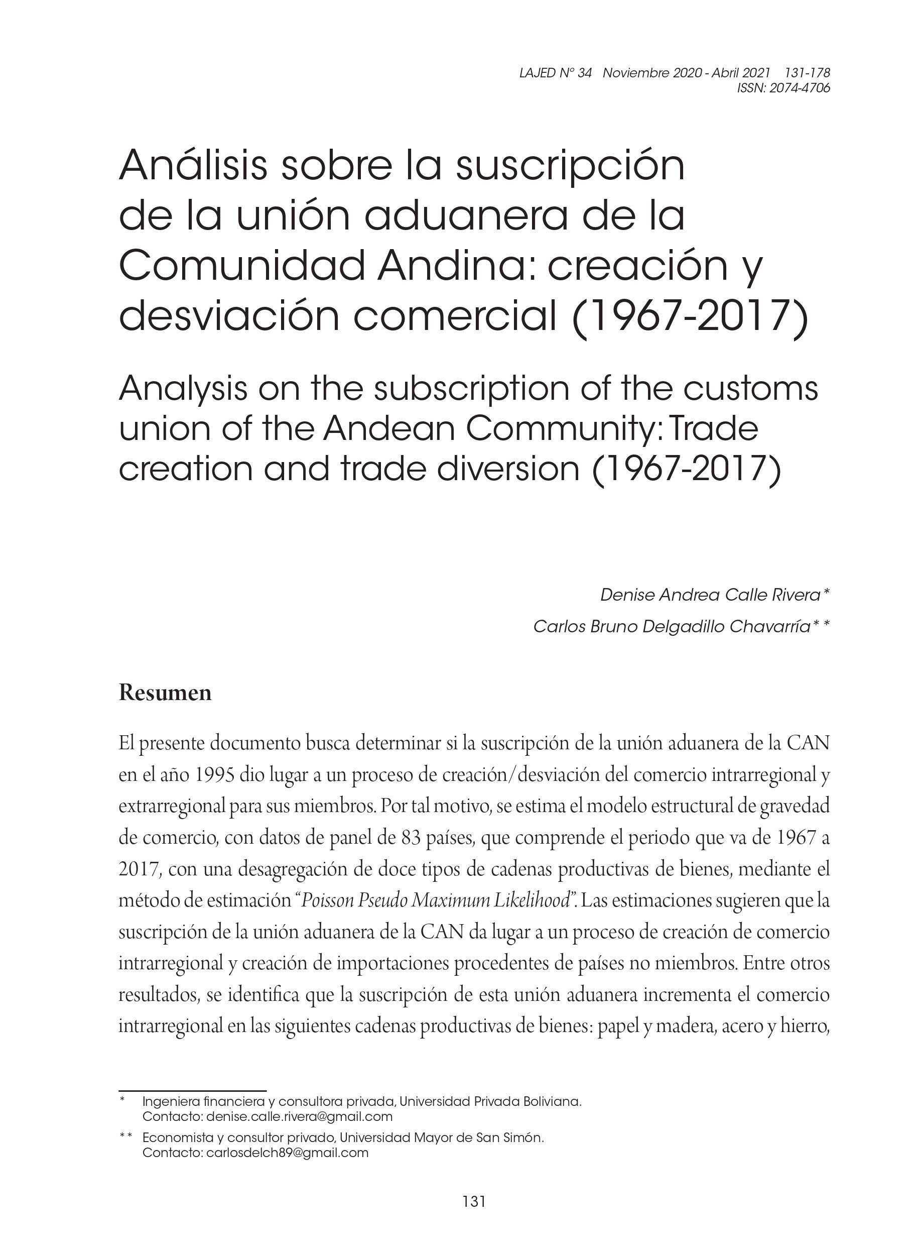 Análisis sobre la suscripción de la unión aduanera de la Comunidad Andina: creación y desviación comercial (1967-2017)