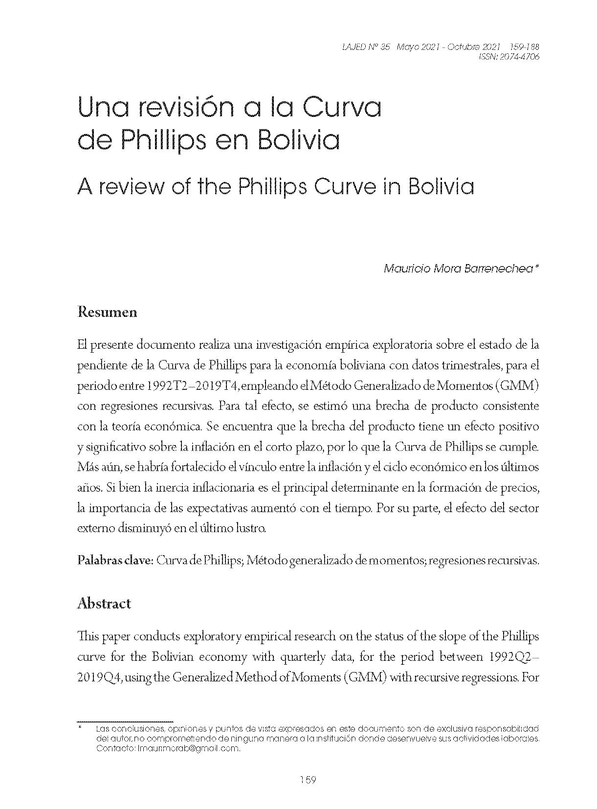 Una revisión a la Curva de Phillips en Bolivia